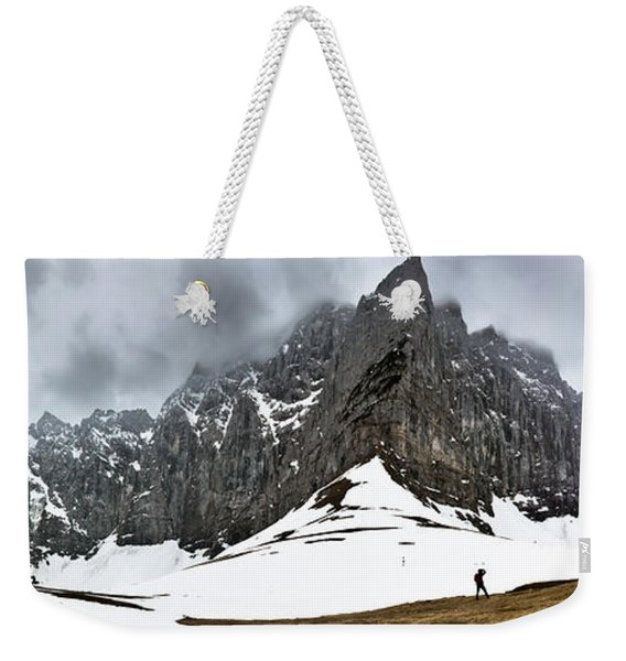Weekender Tote Bag featuring the photograph Hiking In The Alps by John Wadleigh