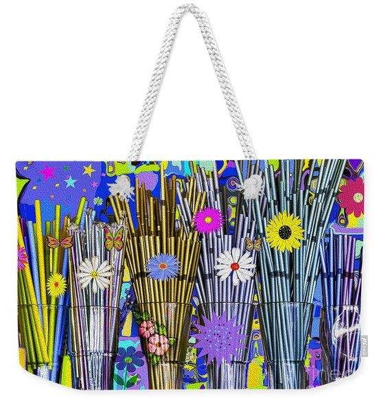 Weekender Tote Bag featuring the digital art Hippie Hippie Straws by Eleni Mac Synodinos