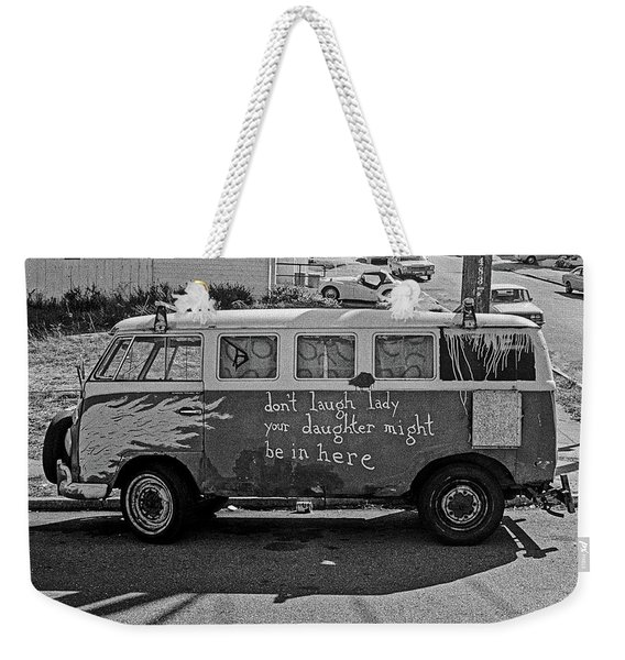 Weekender Tote Bag featuring the photograph Hippie Van, San Francisco 1970's by Frank DiMarco