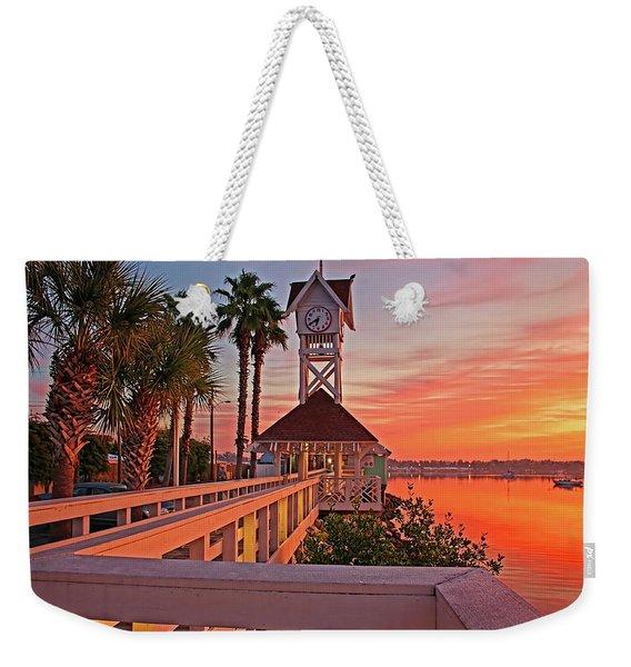 Historic Bridge Street Pier Sunrise Weekender Tote Bag
