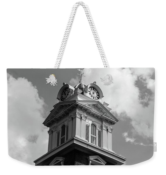 Historic Courthouse Steeple In Bw Weekender Tote Bag