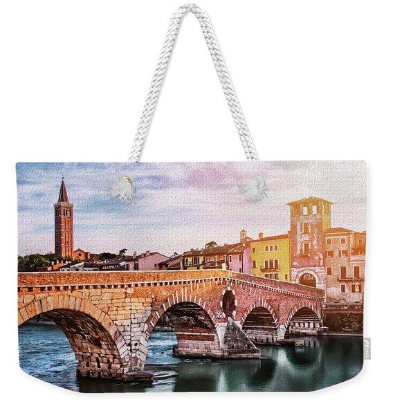 Historic Ponte Pietra Verona Weekender Tote Bag
