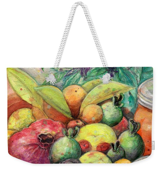 Weekender Tote Bag featuring the painting Hitching Post Harvest by Ashley Kujan