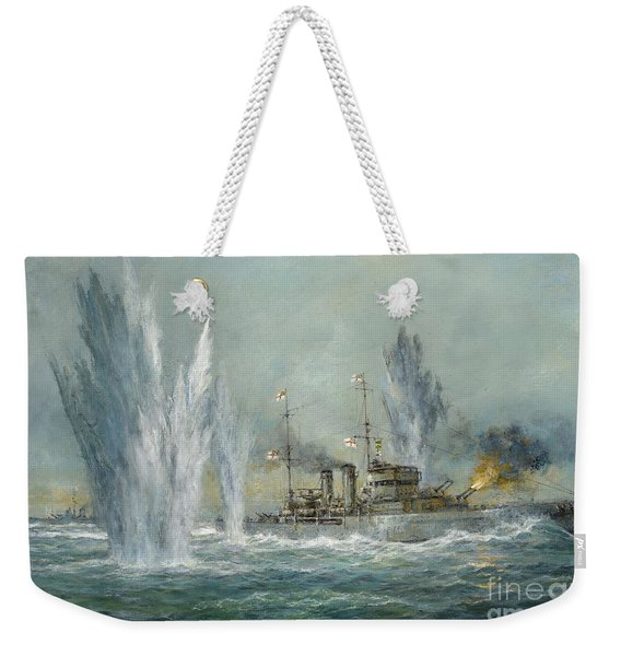 Hms Exeter Engaging In The Graf Spree At The Battle Of The River Plate Weekender Tote Bag