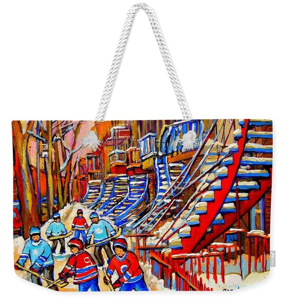 Hockey Game Near The Red Staircase Weekender Tote Bag
