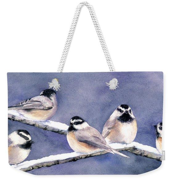 Holiday Chickadees Weekender Tote Bag