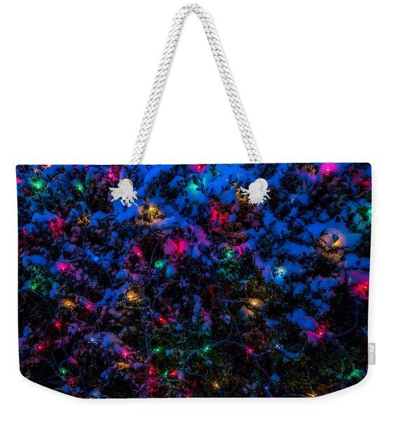 Holiday Lights In Snow Weekender Tote Bag