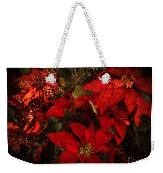 Holiday Painted Poinsettias Weekender Tote Bag