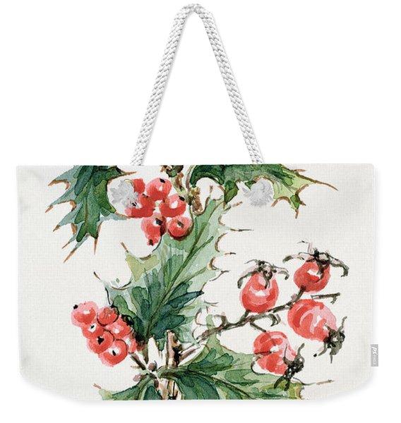 Holly And Rosehips Weekender Tote Bag