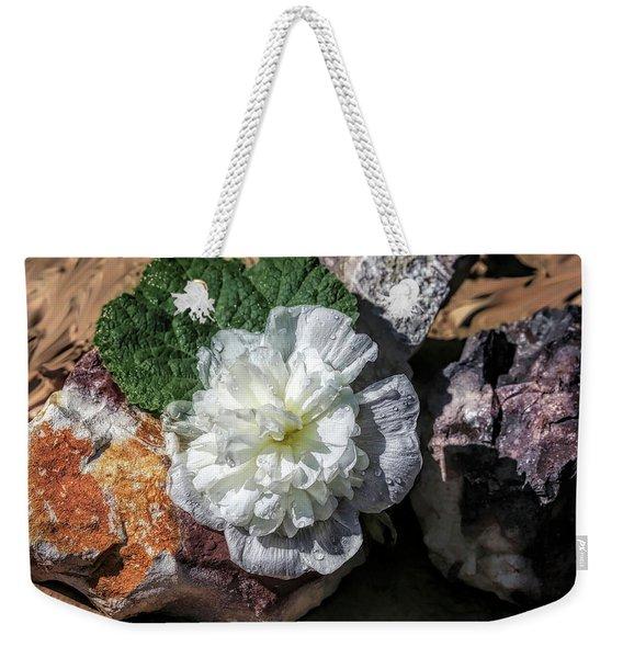 Hollyhock On The Rocks Weekender Tote Bag