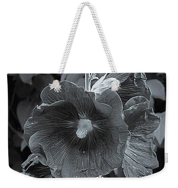 Hollyhock Splendor Bw Weekender Tote Bag