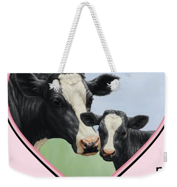 Holstein Cow And Calf Pink Heart Vegan Weekender Tote Bag