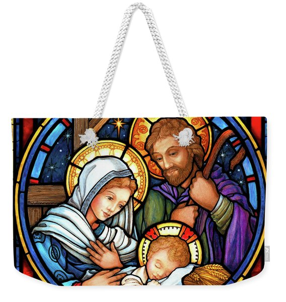 Holy Family Stained Glass Weekender Tote Bag