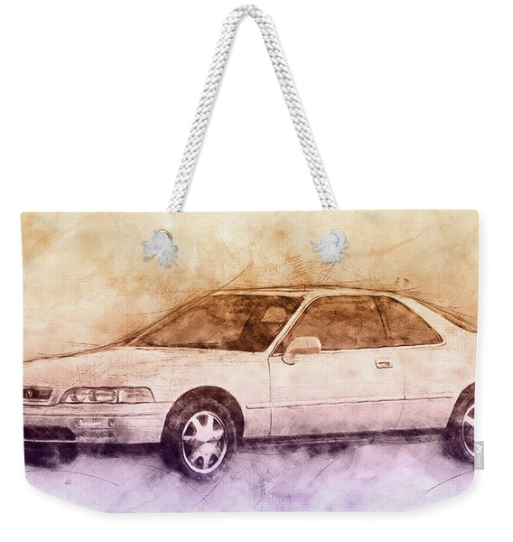 Honda Acura Legend 2 - Executive Car - 1985 - Automotive Art - Car Posters Weekender Tote Bag