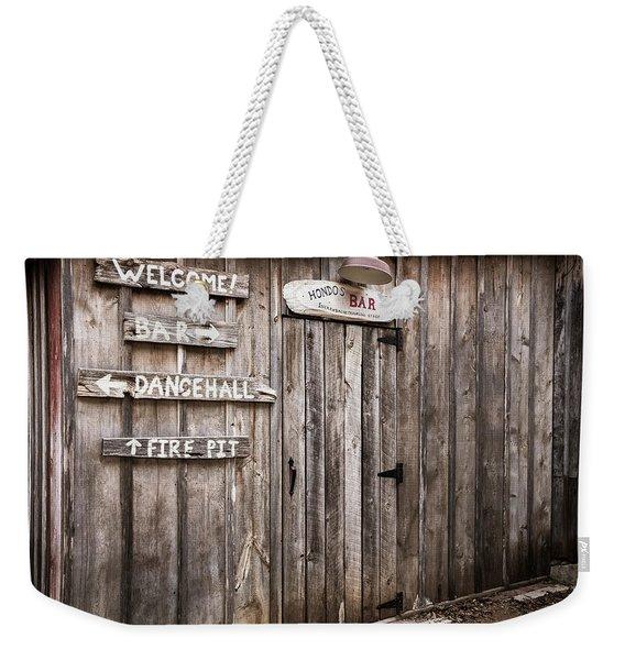 Hondo's Bar At Luckenbach Texas Weekender Tote Bag