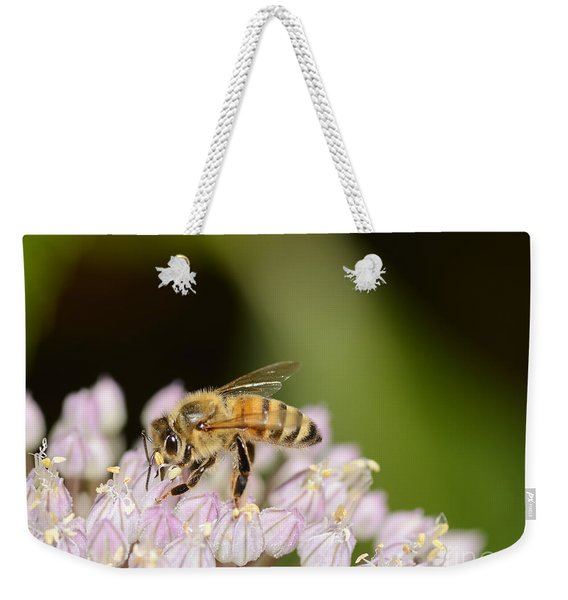 Honey Bee On Elephant Garlic Weekender Tote Bag