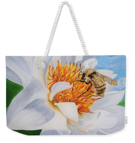 Flygende Lammet Productions     Honey Bee On White Flower Weekender Tote Bag