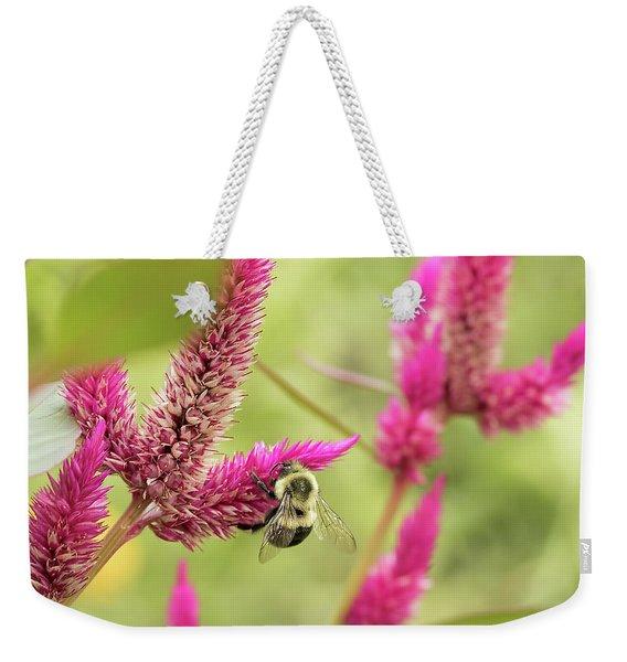 Honeybee Dining On Cockscomb Weekender Tote Bag