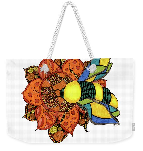Weekender Tote Bag featuring the drawing Honeybee On A Flower by Barbara McConoughey