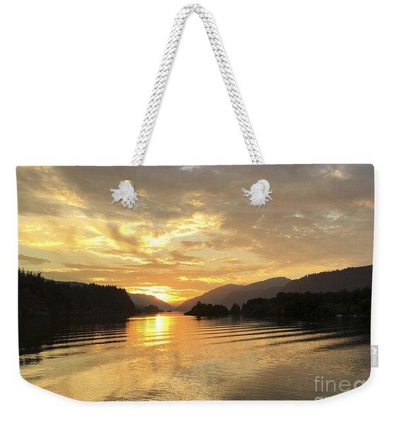 Hood River Golden Sunset Weekender Tote Bag