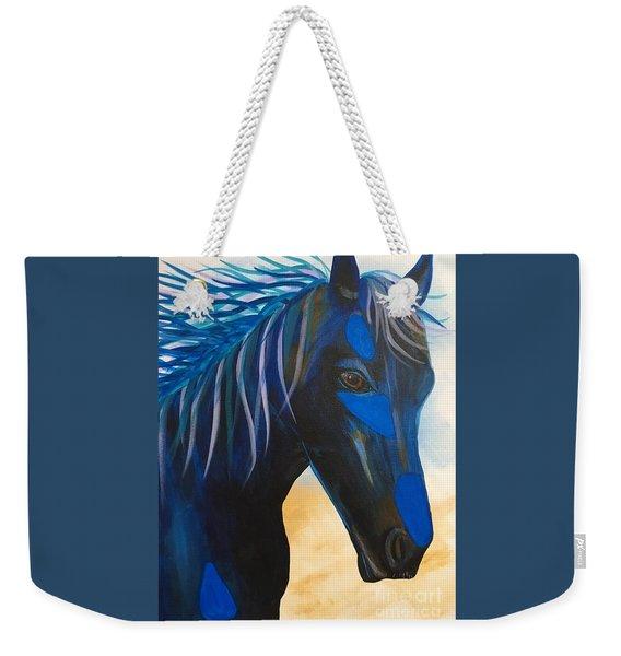 Horse Blue Boy Weekender Tote Bag