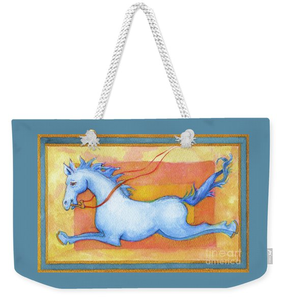 Weekender Tote Bag featuring the painting Horse Detail From H Medieval Alphabet Print by Lora Serra