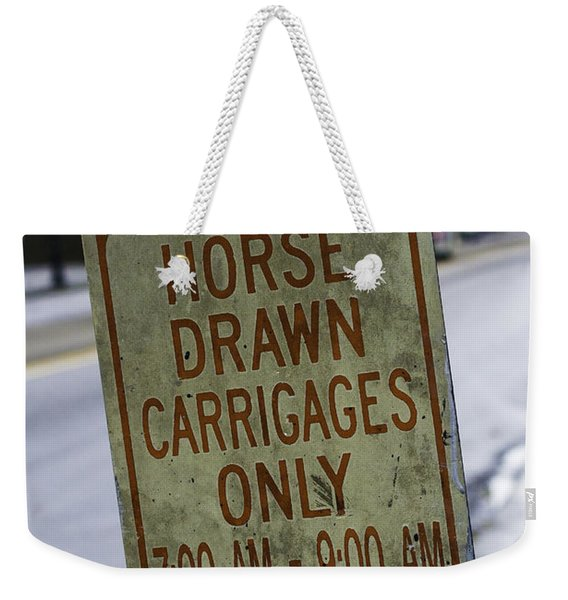 Horse Drawn Carriage Parking Weekender Tote Bag
