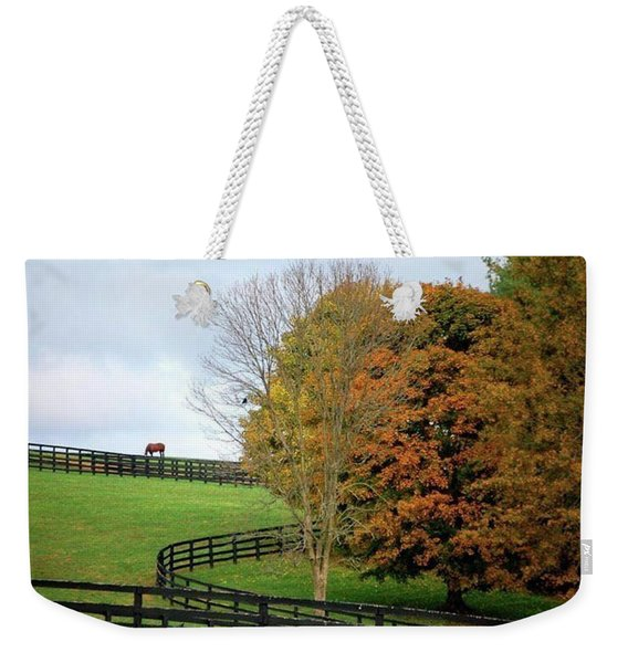 Horse Farm Country In The Fall Weekender Tote Bag