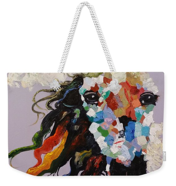Weekender Tote Bag featuring the painting Puzzle Horse Head  by Rosario Piazza