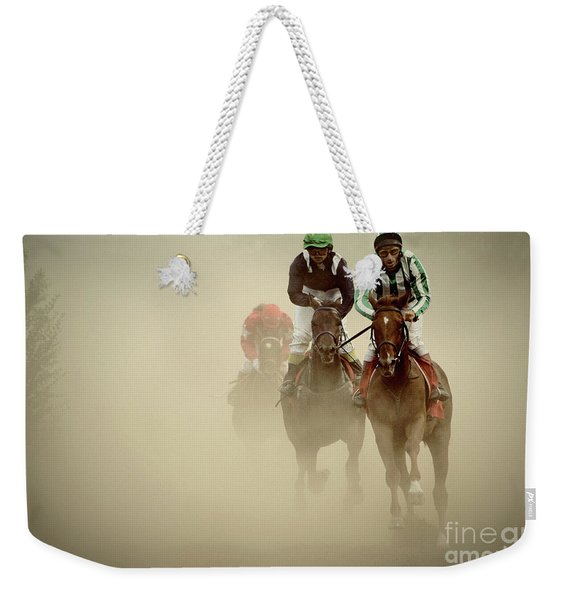 Horse Racing In Dust Weekender Tote Bag