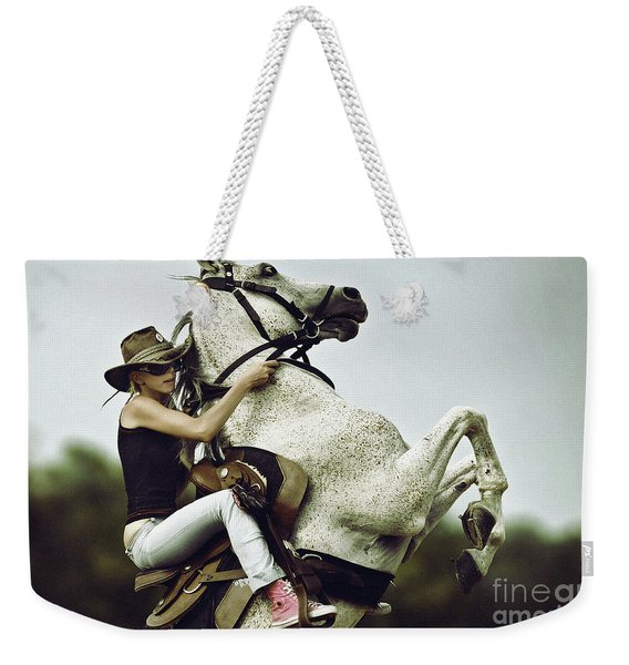 Horse Rearing With Girl Weekender Tote Bag