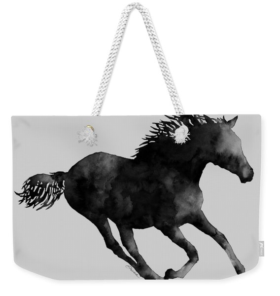 Horse Running In Black And White Weekender Tote Bag