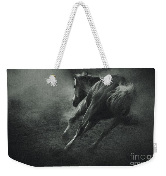 Horse Trotting In Morning Fog Weekender Tote Bag