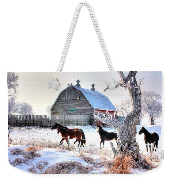 Horses And Barn Weekender Tote Bag