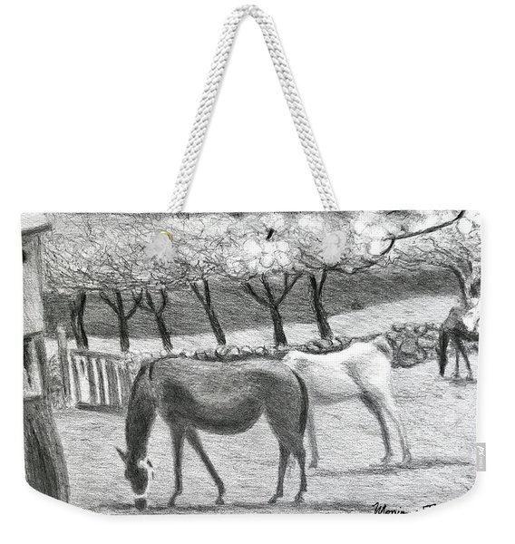 Horses And Trees In Bloom Weekender Tote Bag