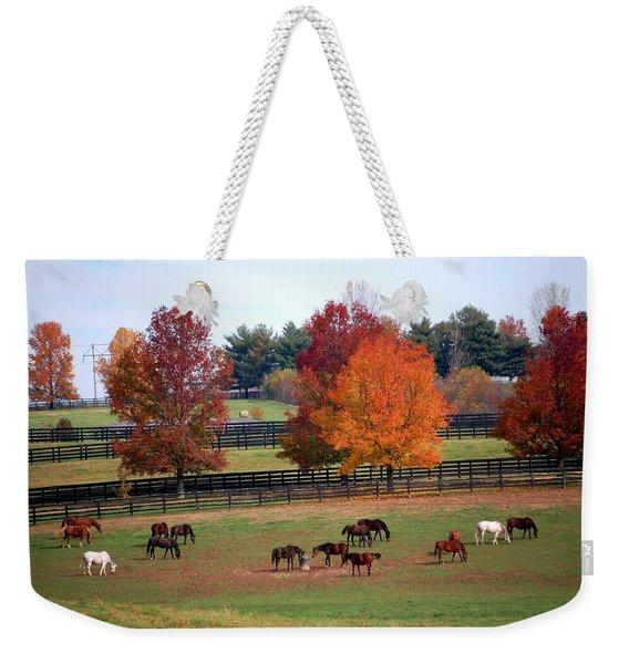 Horses Grazing In The Fall Weekender Tote Bag