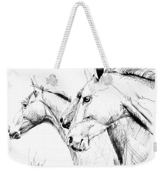 Horses - Ink Drawing Weekender Tote Bag