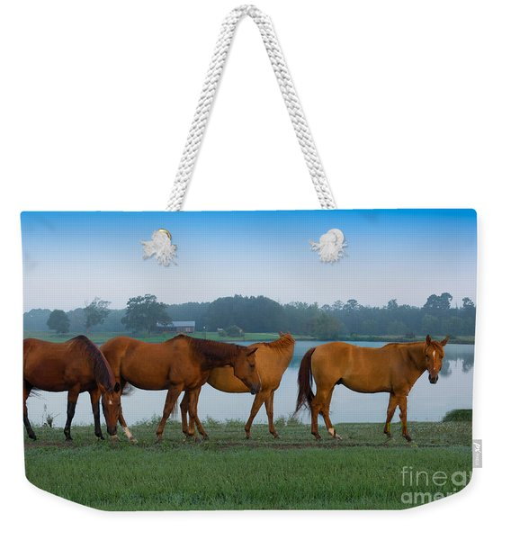 Horses On The Walk Weekender Tote Bag