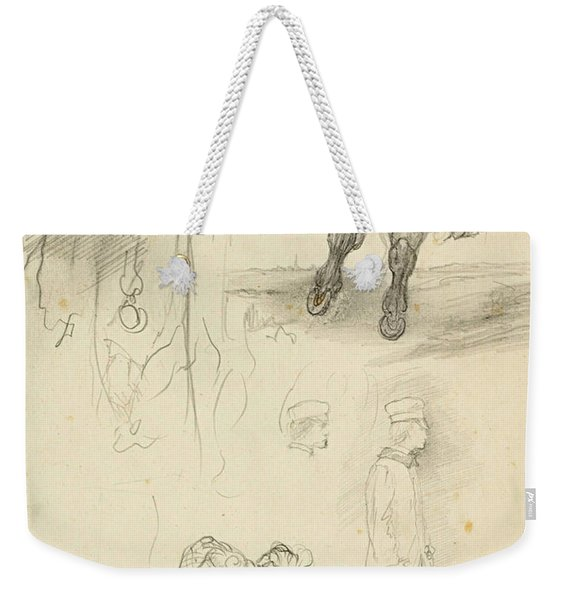 Horses Riders And A Young Man Weekender Tote Bag