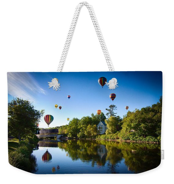 Weekender Tote Bag featuring the photograph Hot Air Balloons In Quechee by Jeff Folger