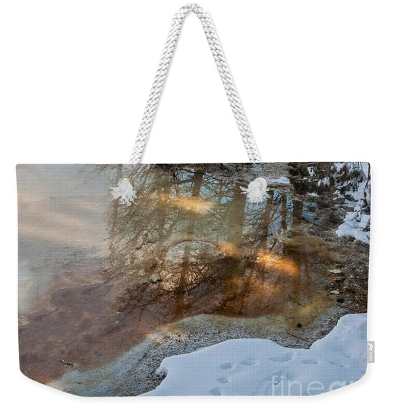 Hot And Cold In Yellowstone Weekender Tote Bag