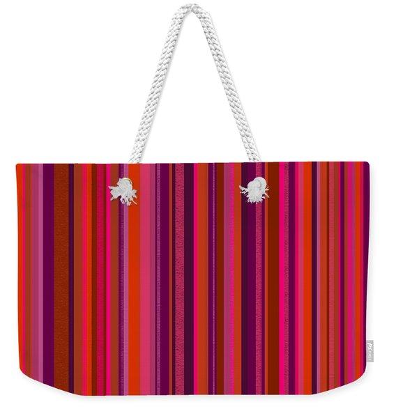 Hot Pink And Orange Stripes Weekender Tote Bag