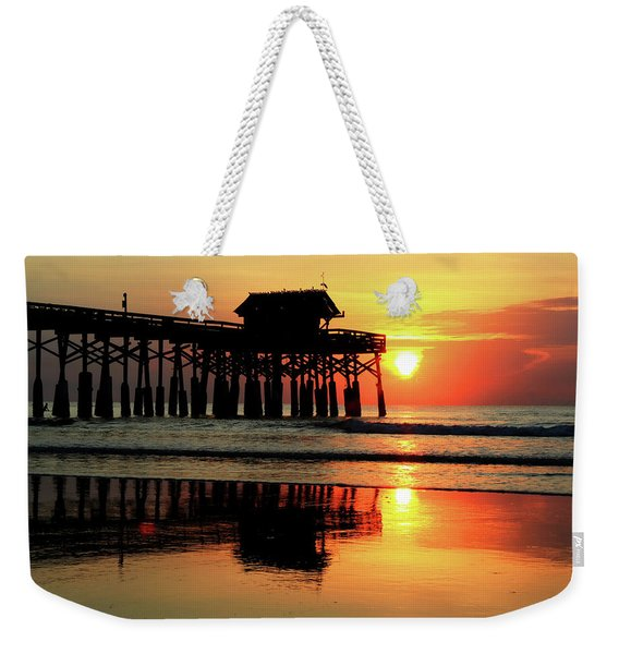 Hot Sunrise Over Cocoa Beach Pier  Weekender Tote Bag
