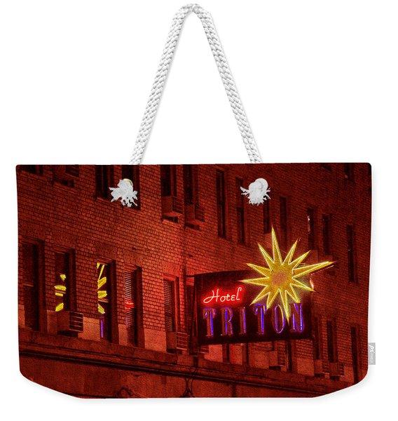 Hotel Triton Neon Sign Weekender Tote Bag