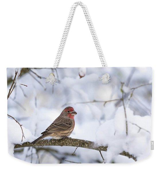 House Finch In Snow Weekender Tote Bag