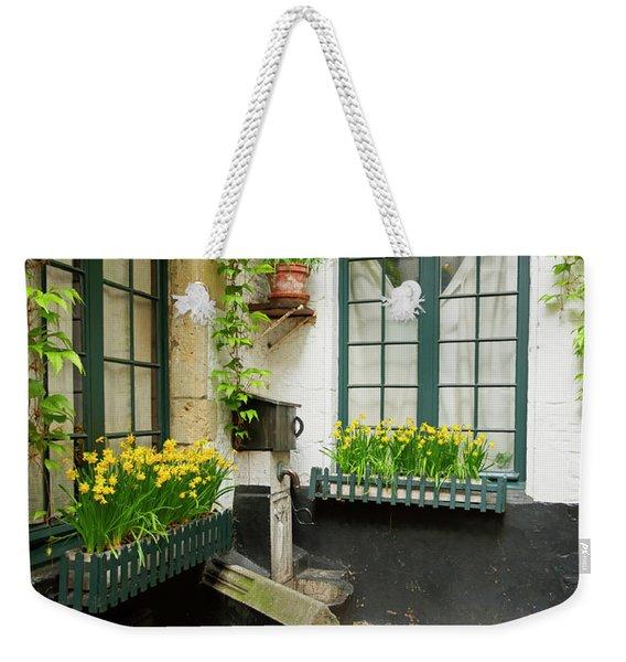 Houses With An Outdoor Water Pump In Old Town Antwerp Belgium Weekender Tote Bag