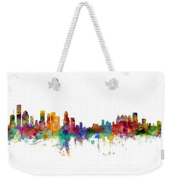 Houston Detroit Skylines Mashup Weekender Tote Bag