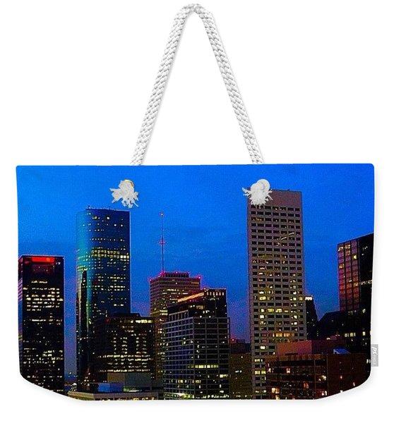 #houston #skyline At #night. #lights Weekender Tote Bag