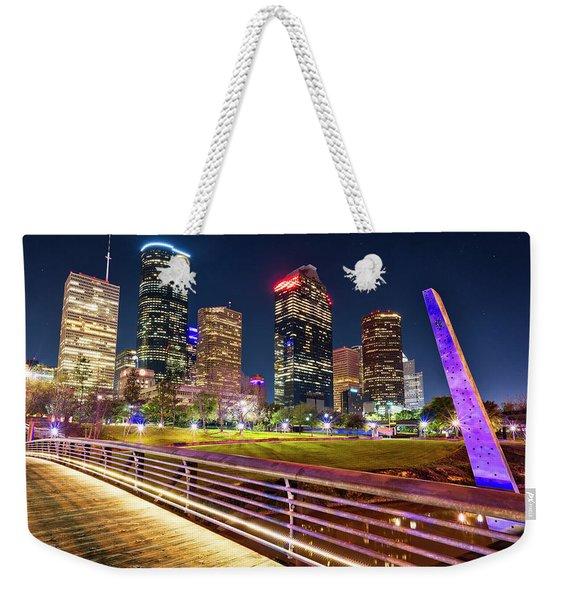 Houston Skyline From Buffalo Bayou Pedestrian Bridge Weekender Tote Bag
