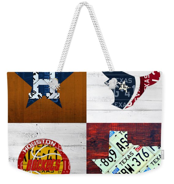 Houston Sports Fan Recycled Vintage Texas License Plate Art Astros Texans Rockets And State Map Weekender Tote Bag